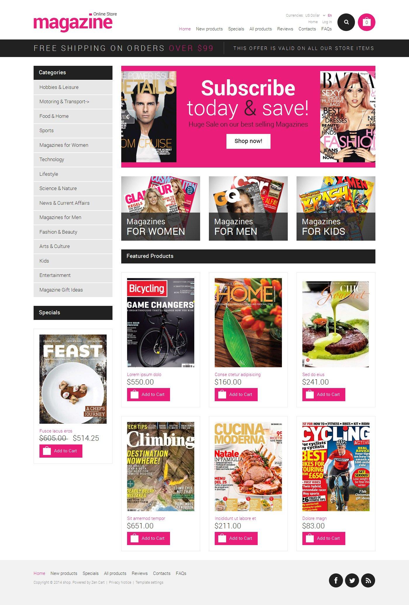 ZenCart шаблон на тему новинний портал №50963 - скріншот