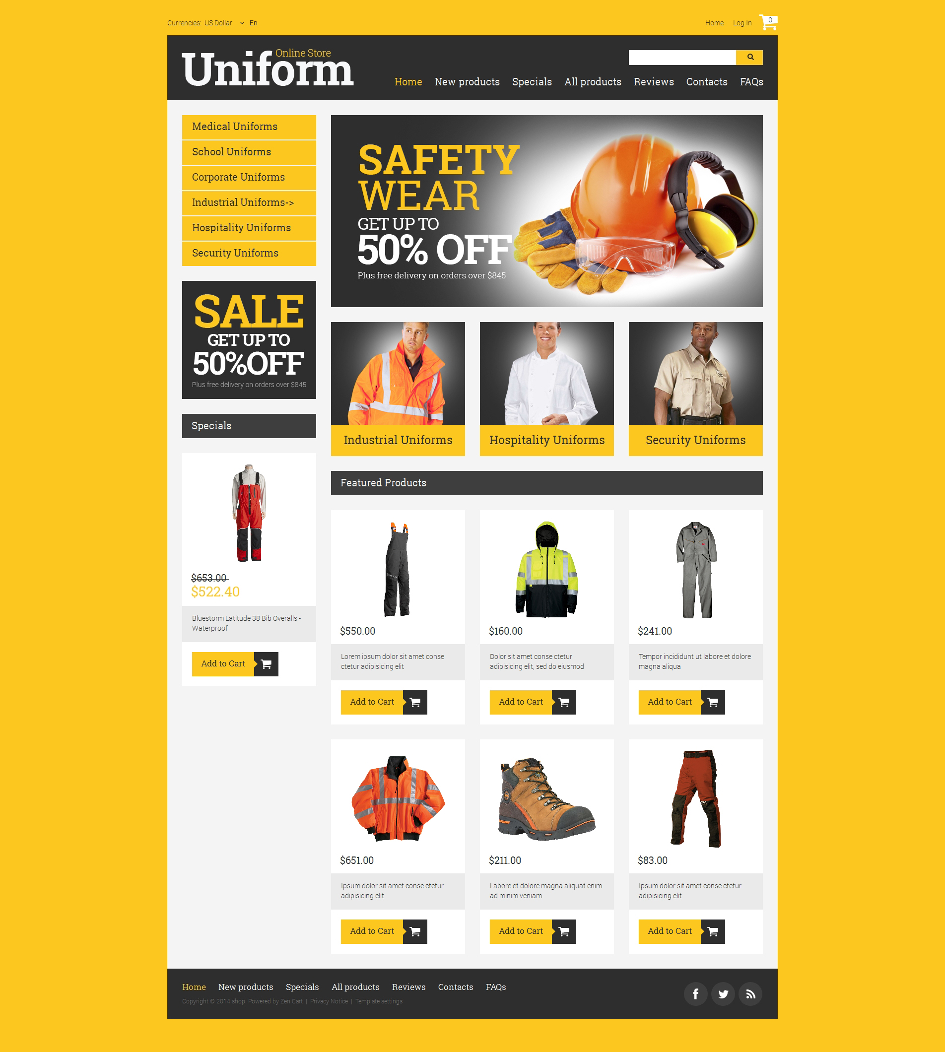 ZenCart шаблон №50906 на тему пожарная часть - скриншот
