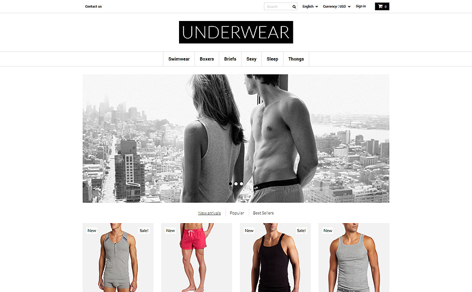 Responsive Men's Underwear Templates Prestashop Teması New Screenshots BIG