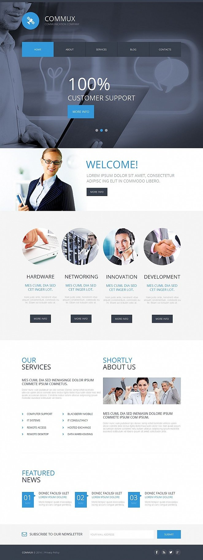 Business Communication Web Tempalte with Huge Header Slider - image