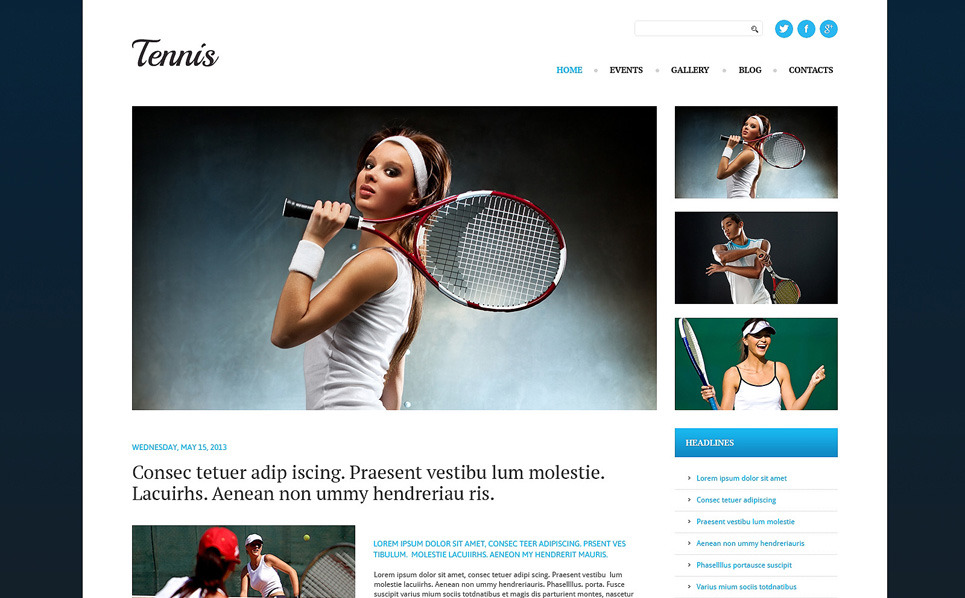 Responsive WordPress thema over Tennis  New Screenshots BIG