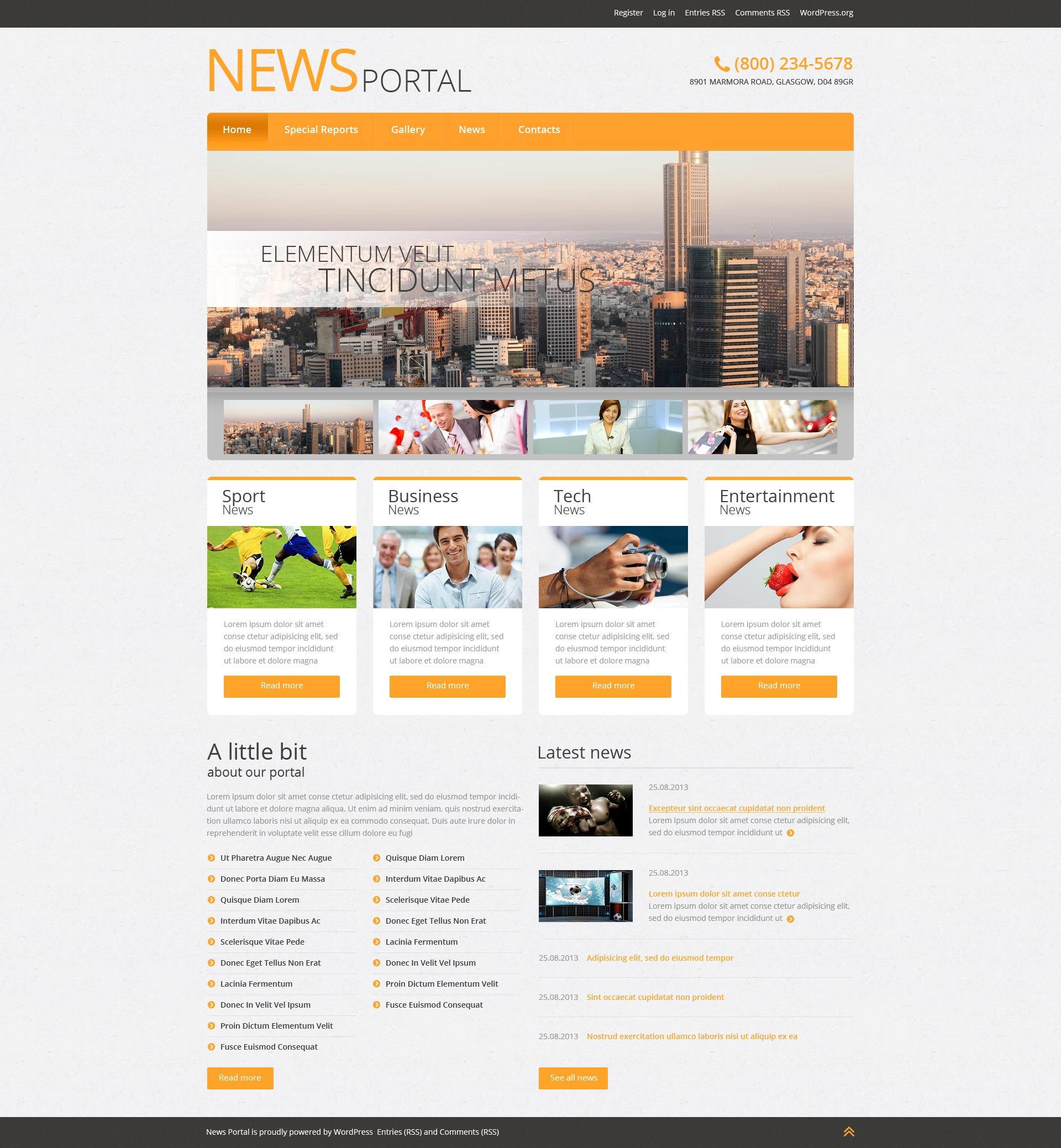 Адаптивний WordPress шаблон на тему новинний портал №51042