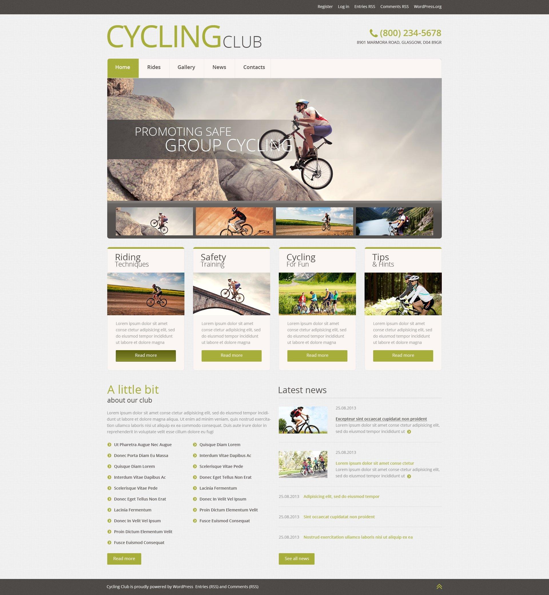 Адаптивний WordPress шаблон на тему велоспорт №51043