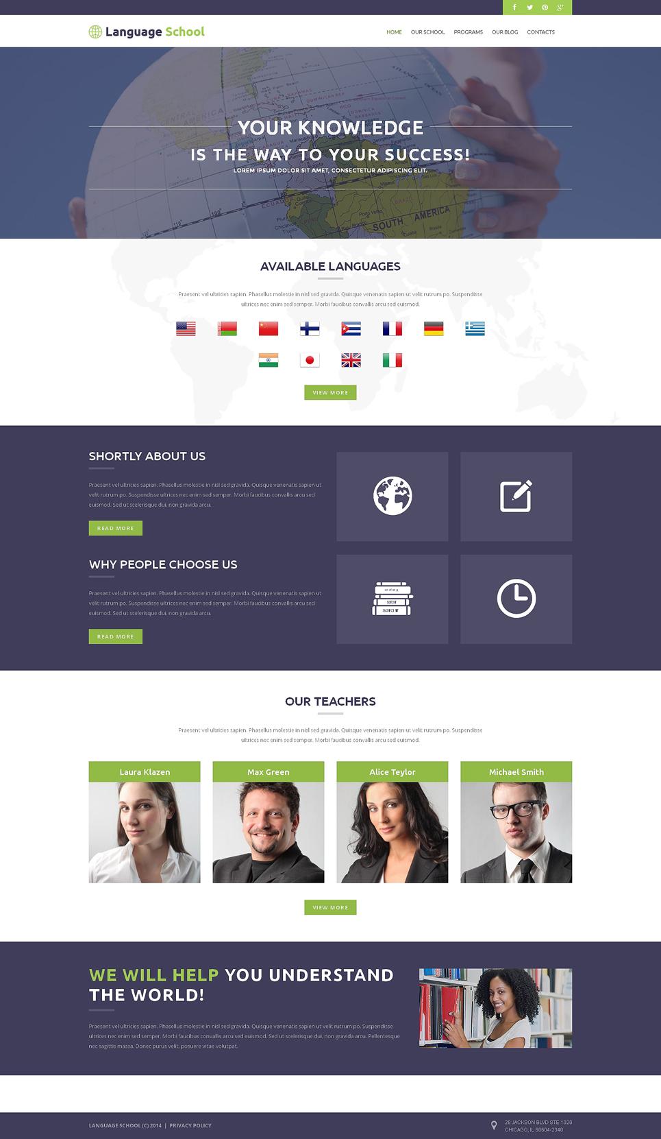 Адаптивный шаблон сайта на тему языковая школа #51000