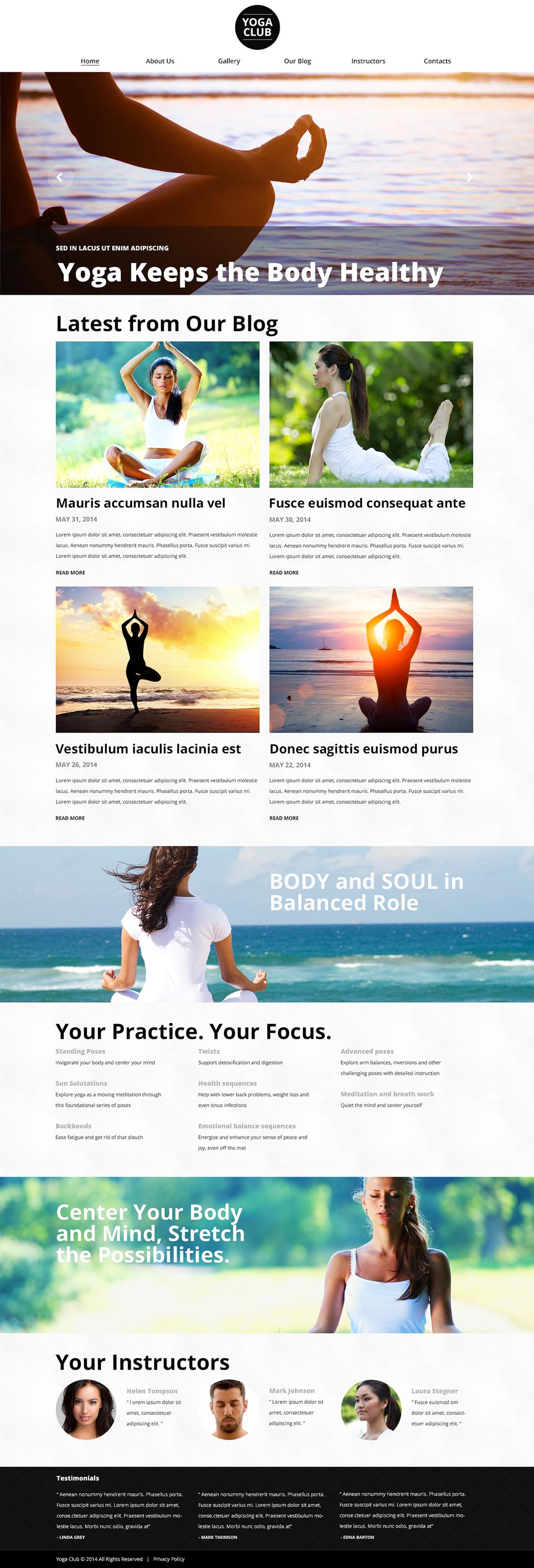 Адаптивный шаблон сайта на тему йога #51030