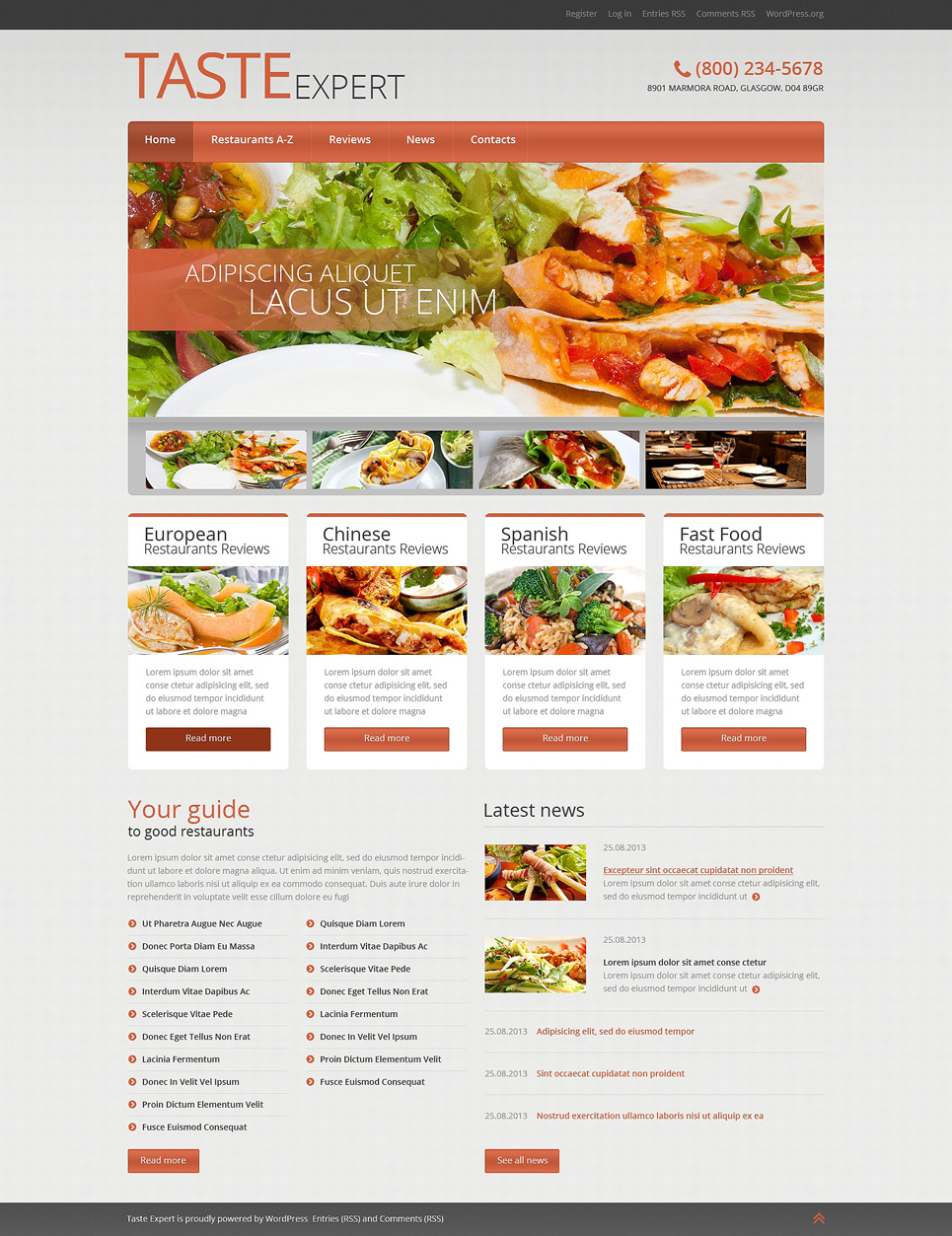 Адаптивный шаблон сайта на тему европейский ресторан #51041