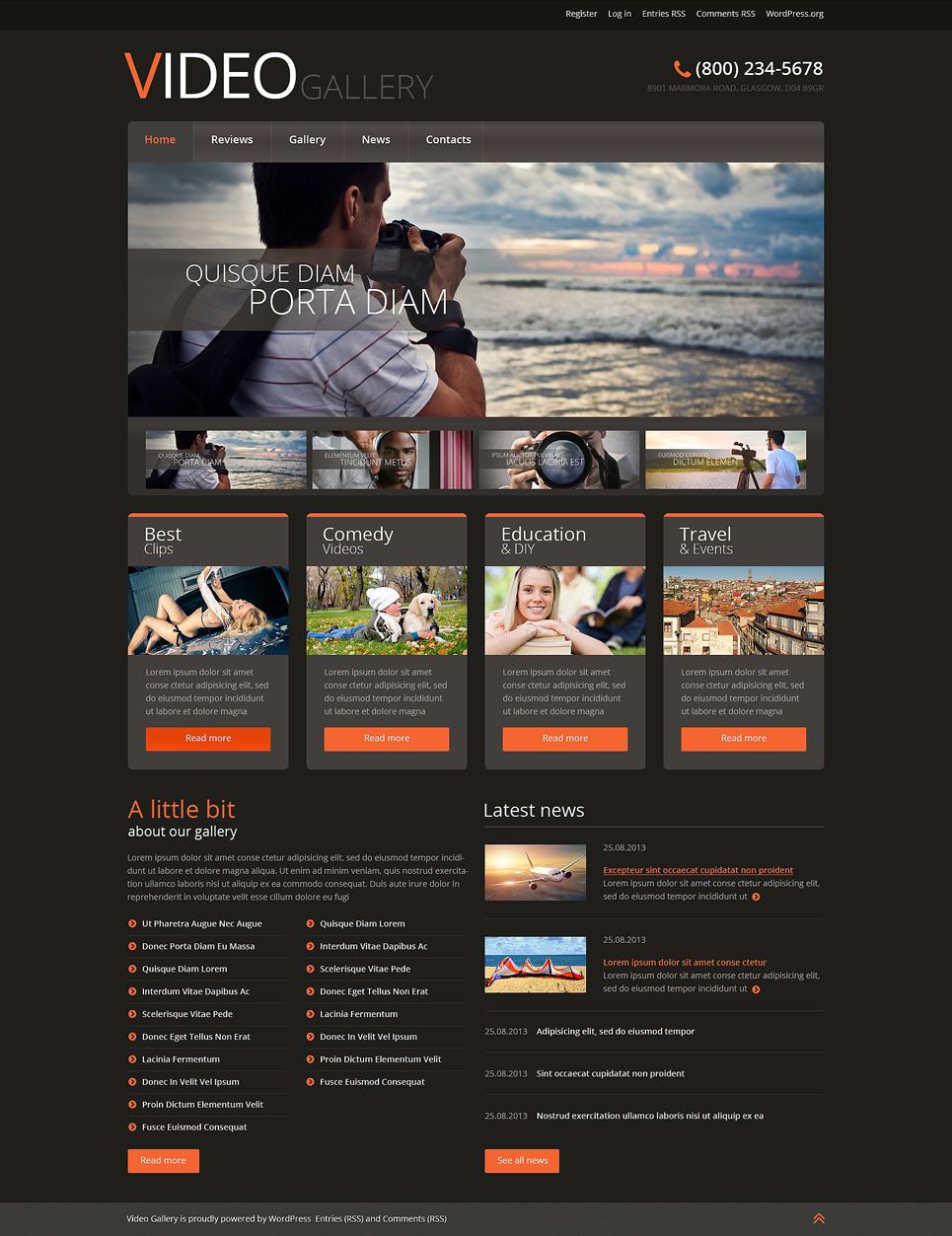 Адаптивный шаблон сайта на тему видео студия #51044