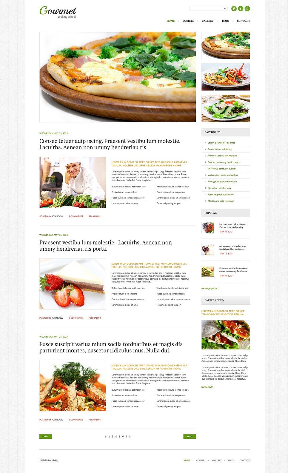 Адаптивный шаблон сайта на тему кулинария #51080