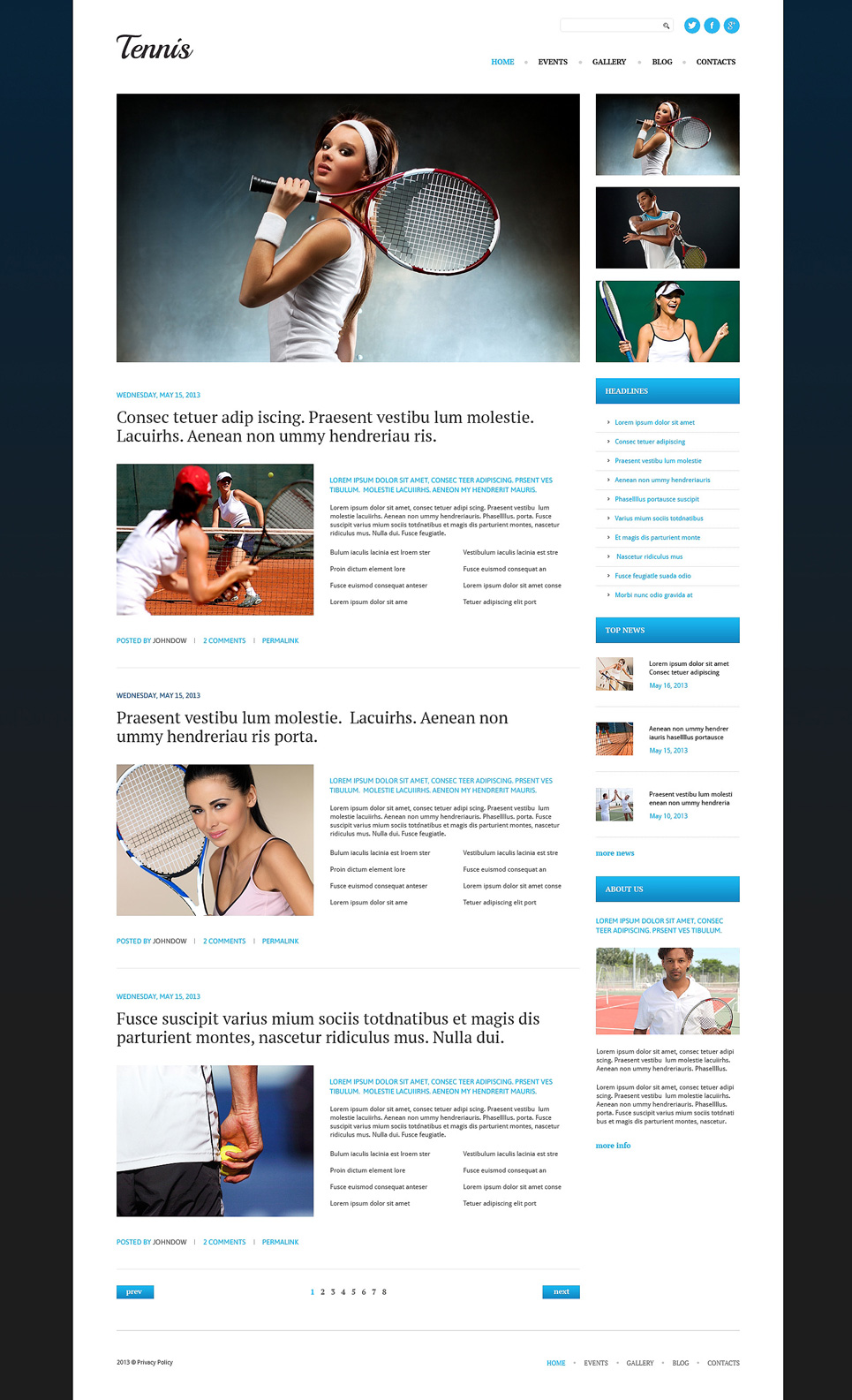 Адаптивный шаблон сайта на тему теннис #51081