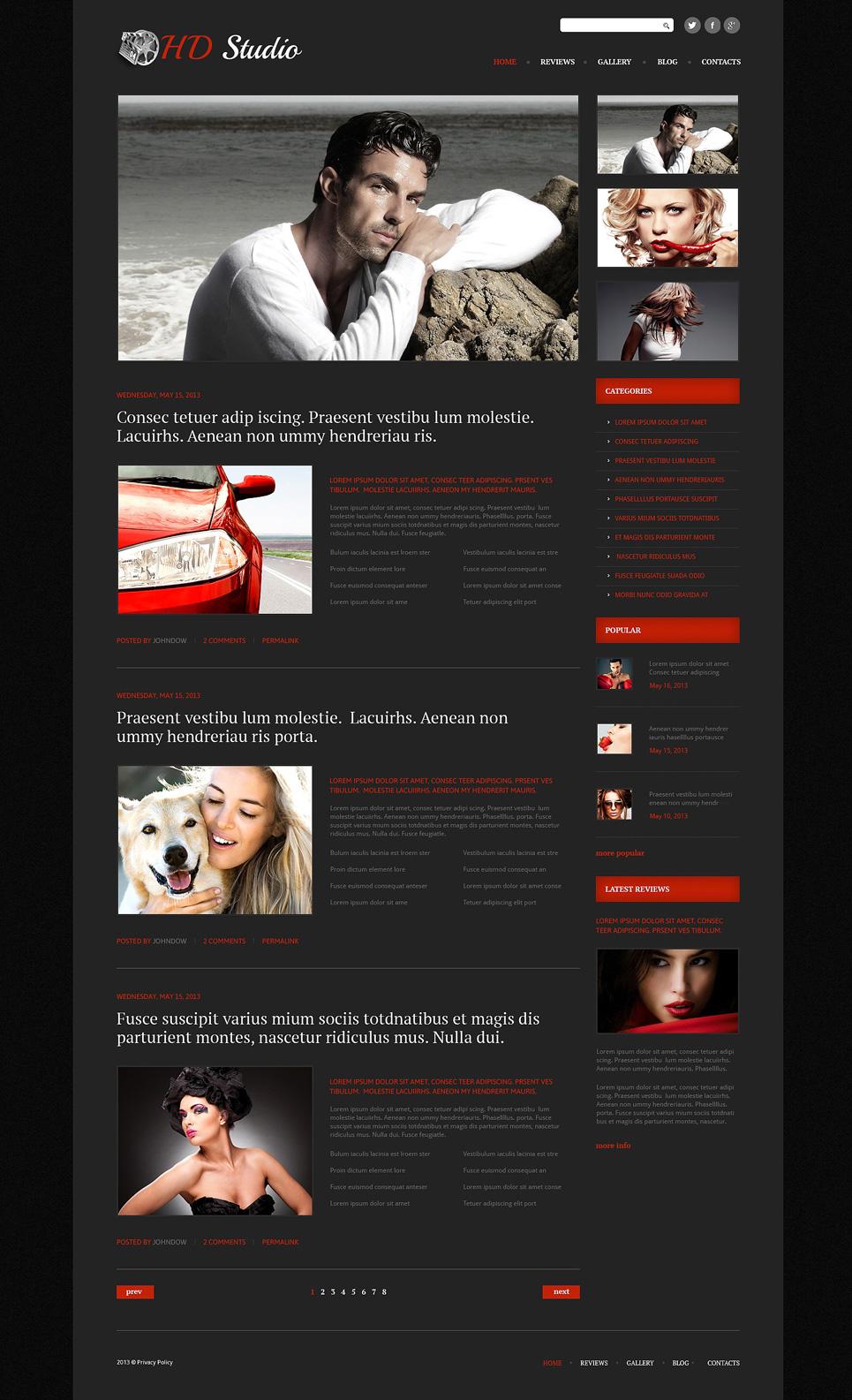 Адаптивный шаблон сайта на тему видео студия #51082