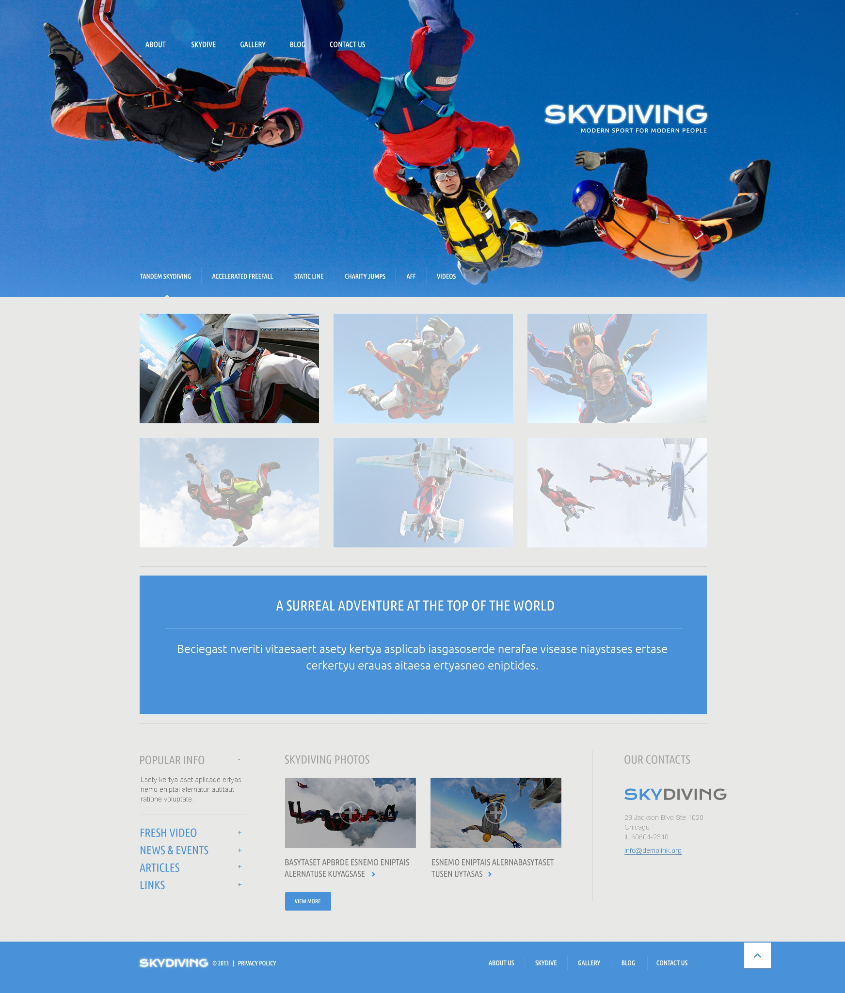 Адаптивный WordPress шаблон №51085 на тему парашютный спорт