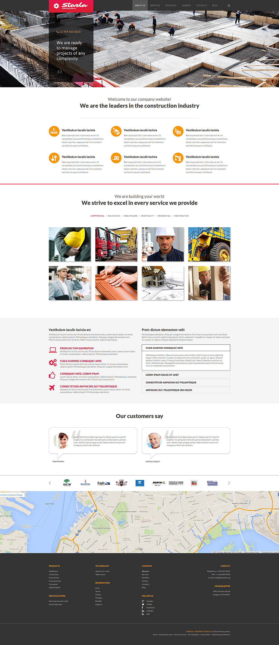 Construction Company Responsive Website Template 51054