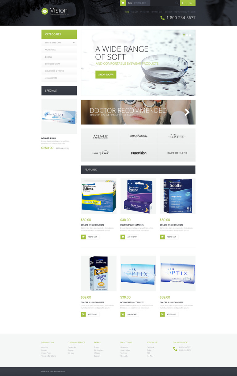 Contact Lens Store OpenCart Template New Screenshots BIG
