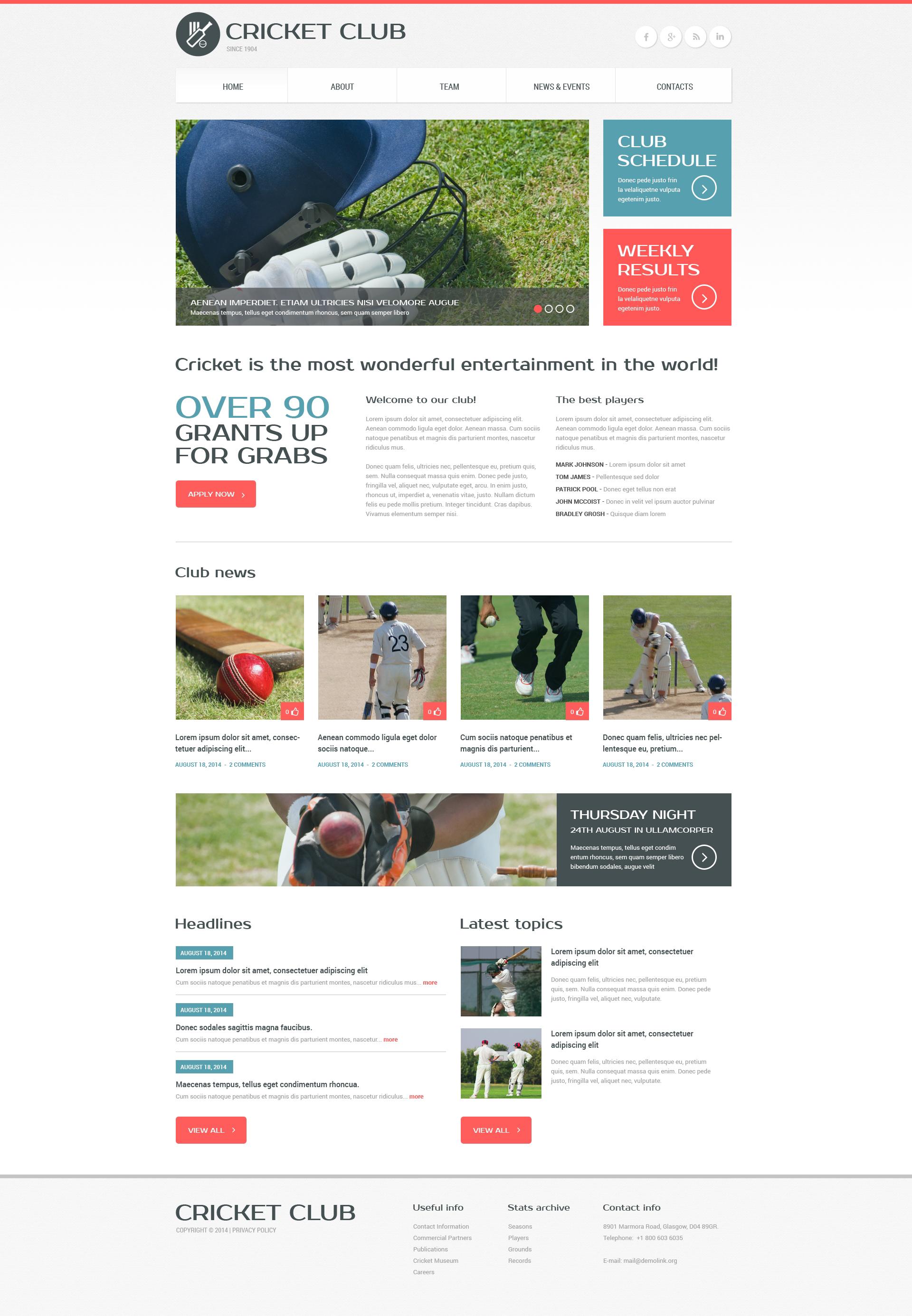 Responsieve websitesjabloon voor cricket