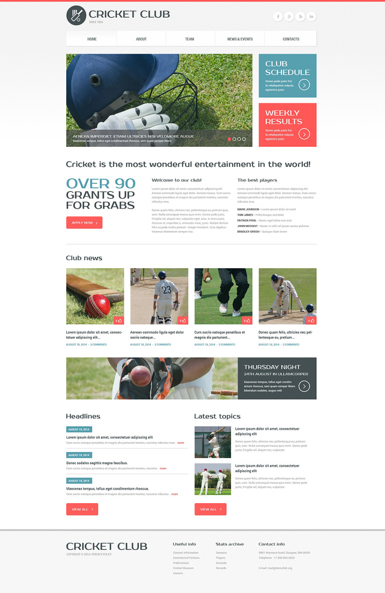 Cricket Responsive Website Template New Screenshots BIG