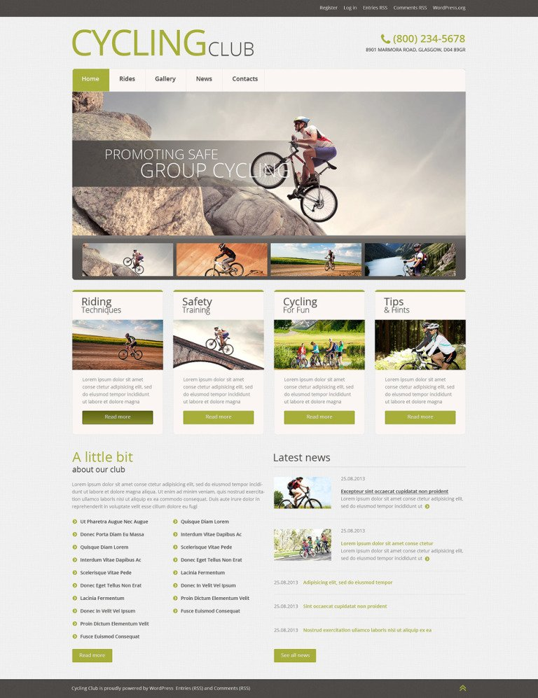 Cycling Responsive WordPress Theme New Screenshots BIG