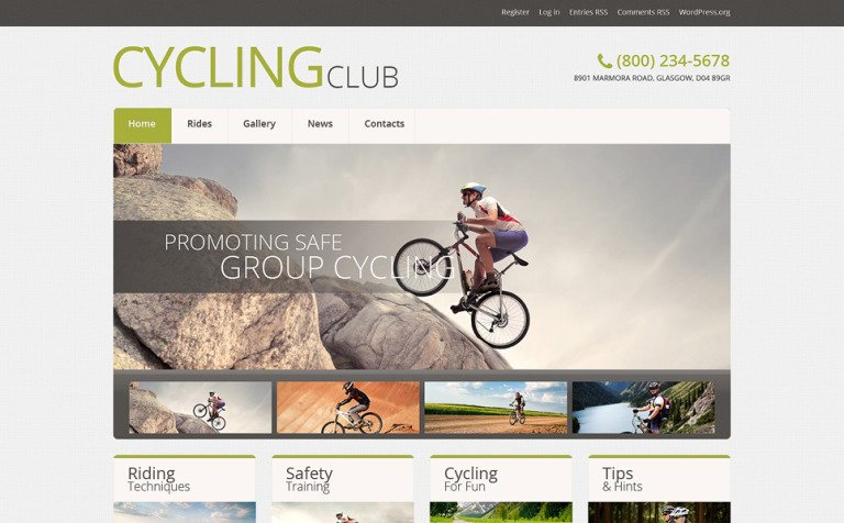 Cycling Club Responsive WordPress Theme
