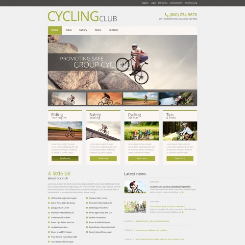 Cycling Club - WordPress Template based on Bootstrap