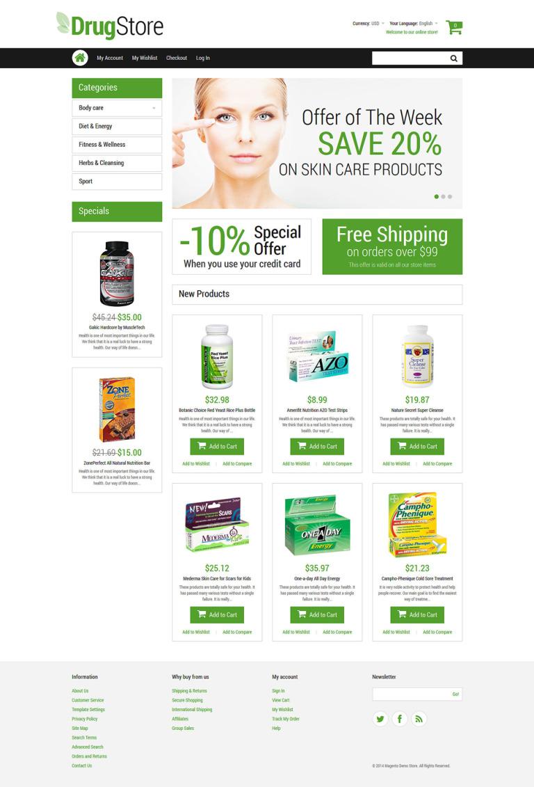 Drugstore Magento Theme New Screenshots BIG