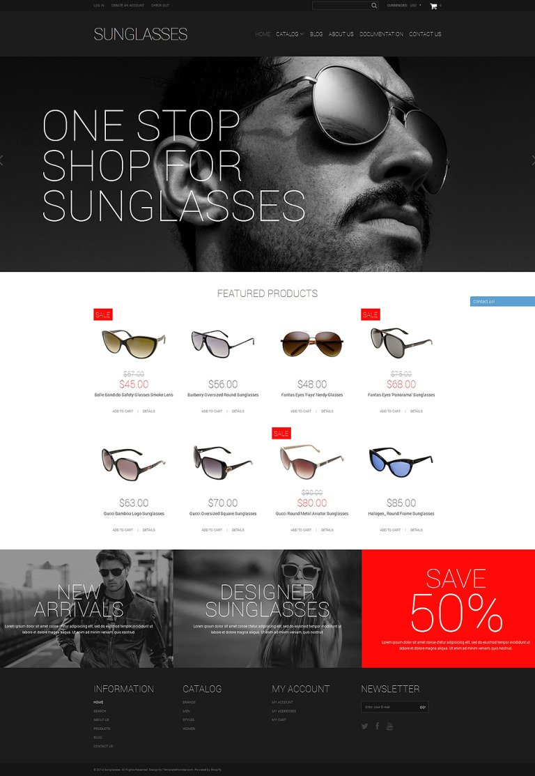 Elegant Sunglasses Shopify Theme New Screenshots BIG