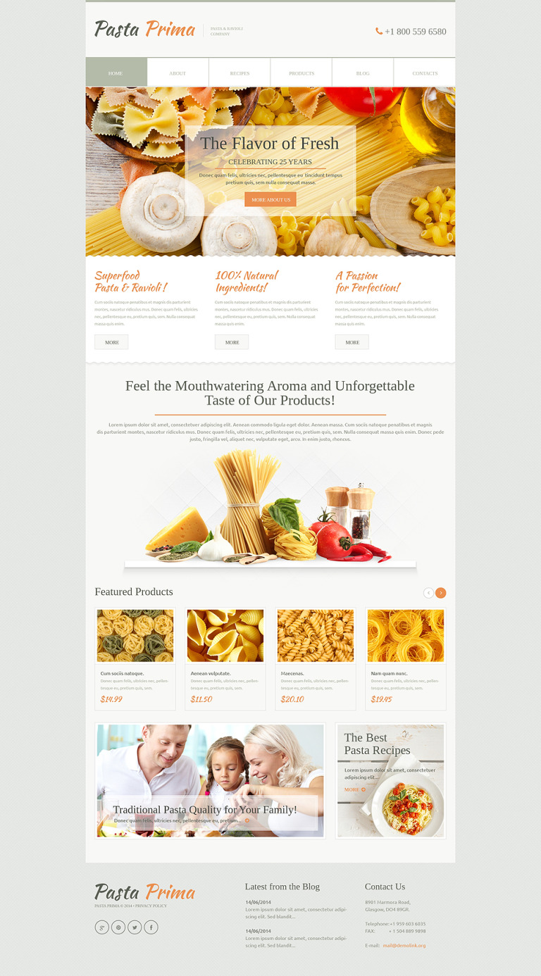 Family Pasta WordPress Theme New Screenshots BIG