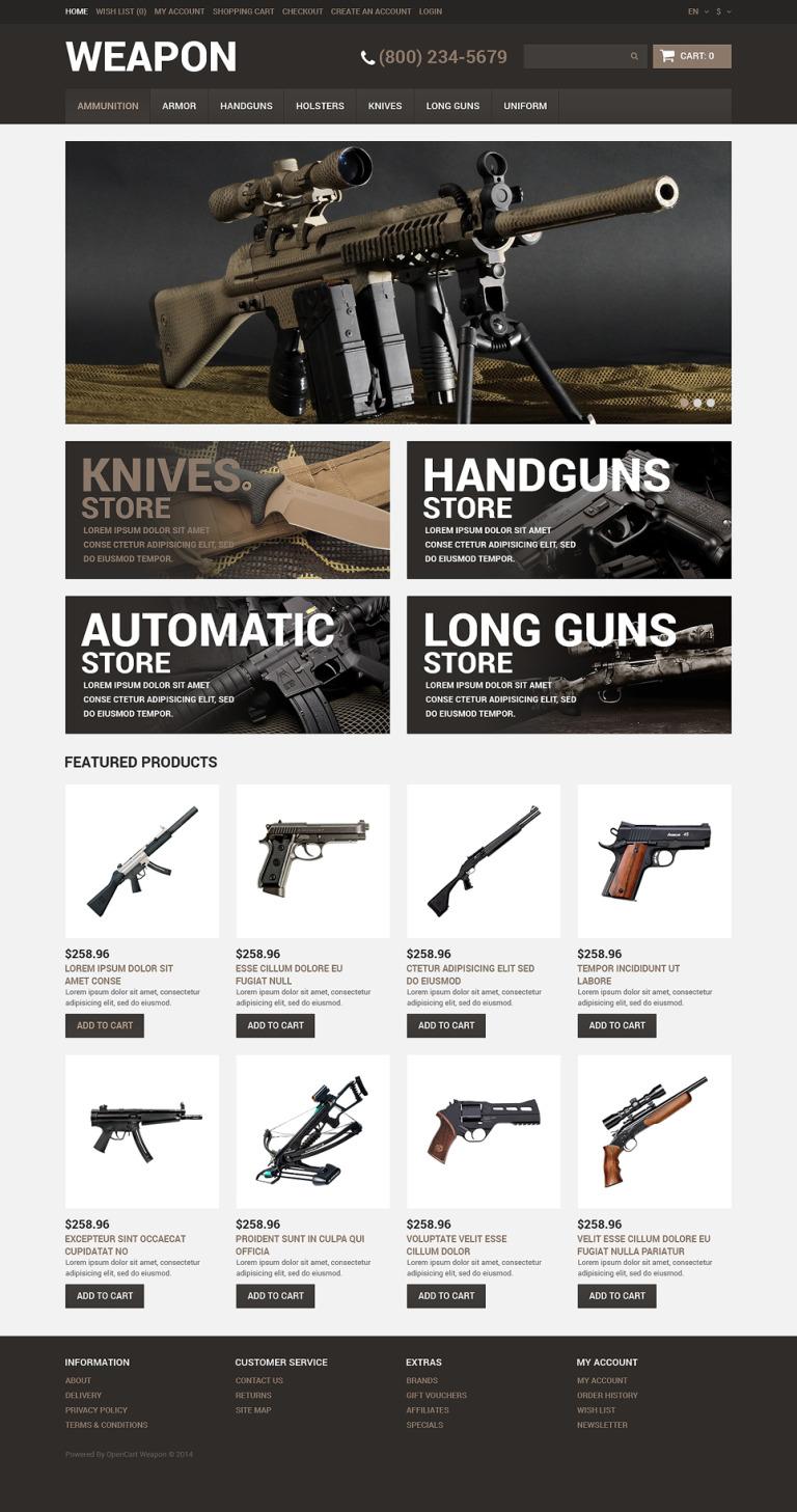 Gun Shop Responsive OpenCart Template New Screenshots BIG