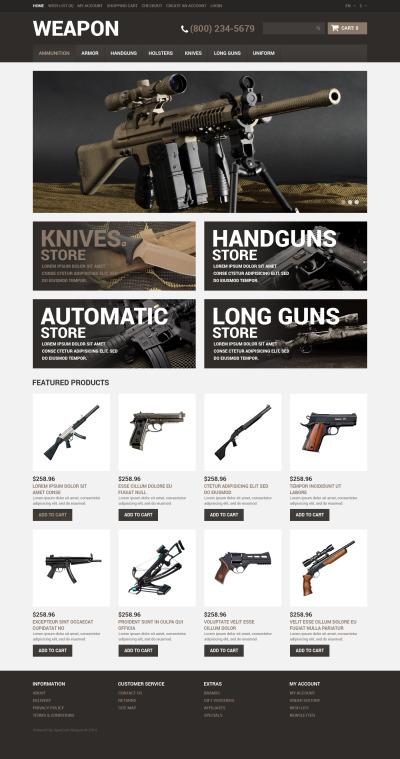 Gun Shop Responsive OpenCart Template #51070