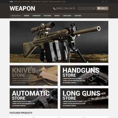 Gun Shop OpenCart Templates - Free template for invoices cheapest online gun store