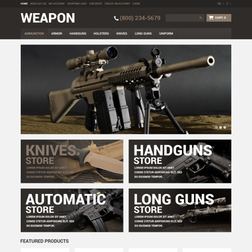 Weapon - OpenCart Weapon Store Template