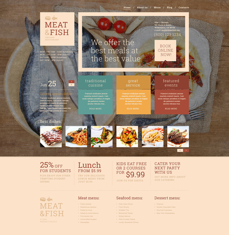 Meat Fish Restaurant WordPress Theme New Screenshots BIG