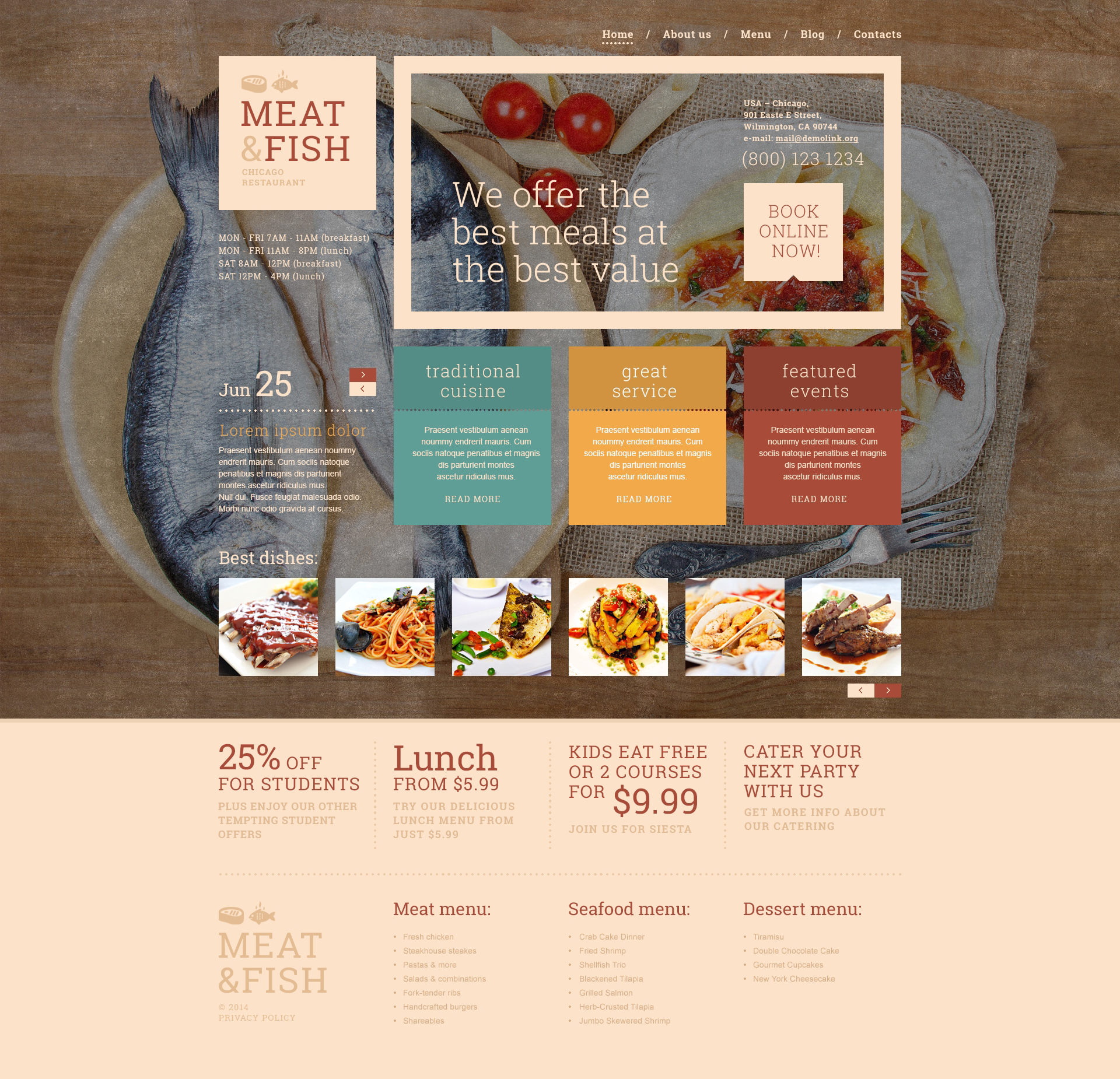 Meat  Fish Restaurant WordPress Theme - screenshot