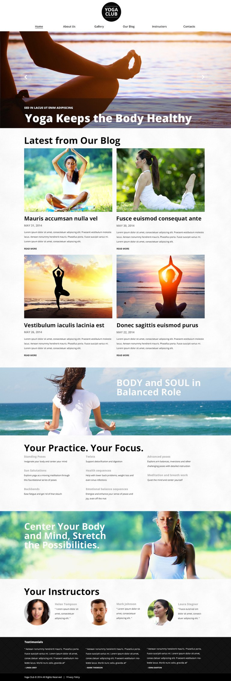 OpenAir Yoga Classes WordPress Theme New Screenshots BIG