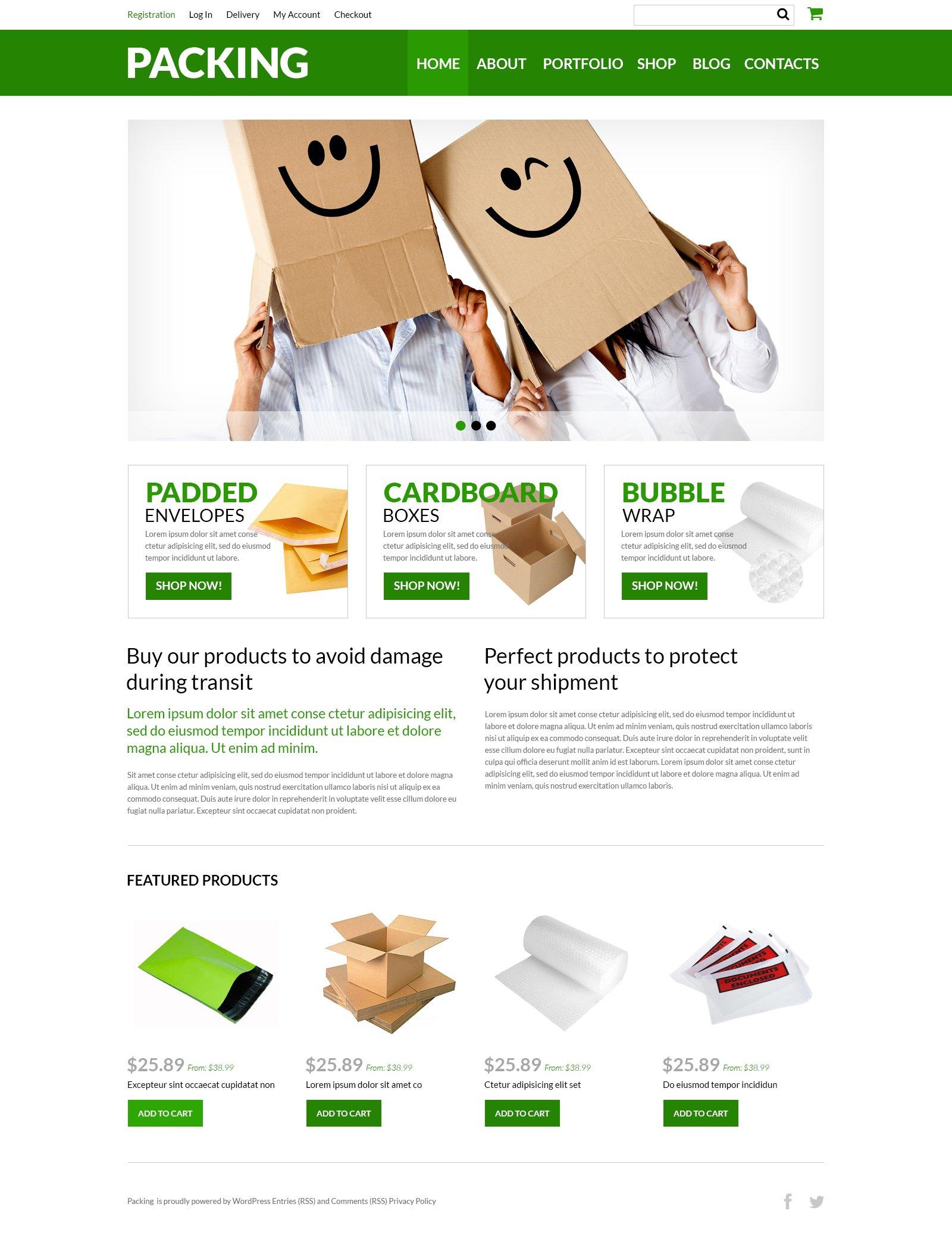 """Packing Company eStore"" thème WooCommerce adaptatif #51002 - screenshot"