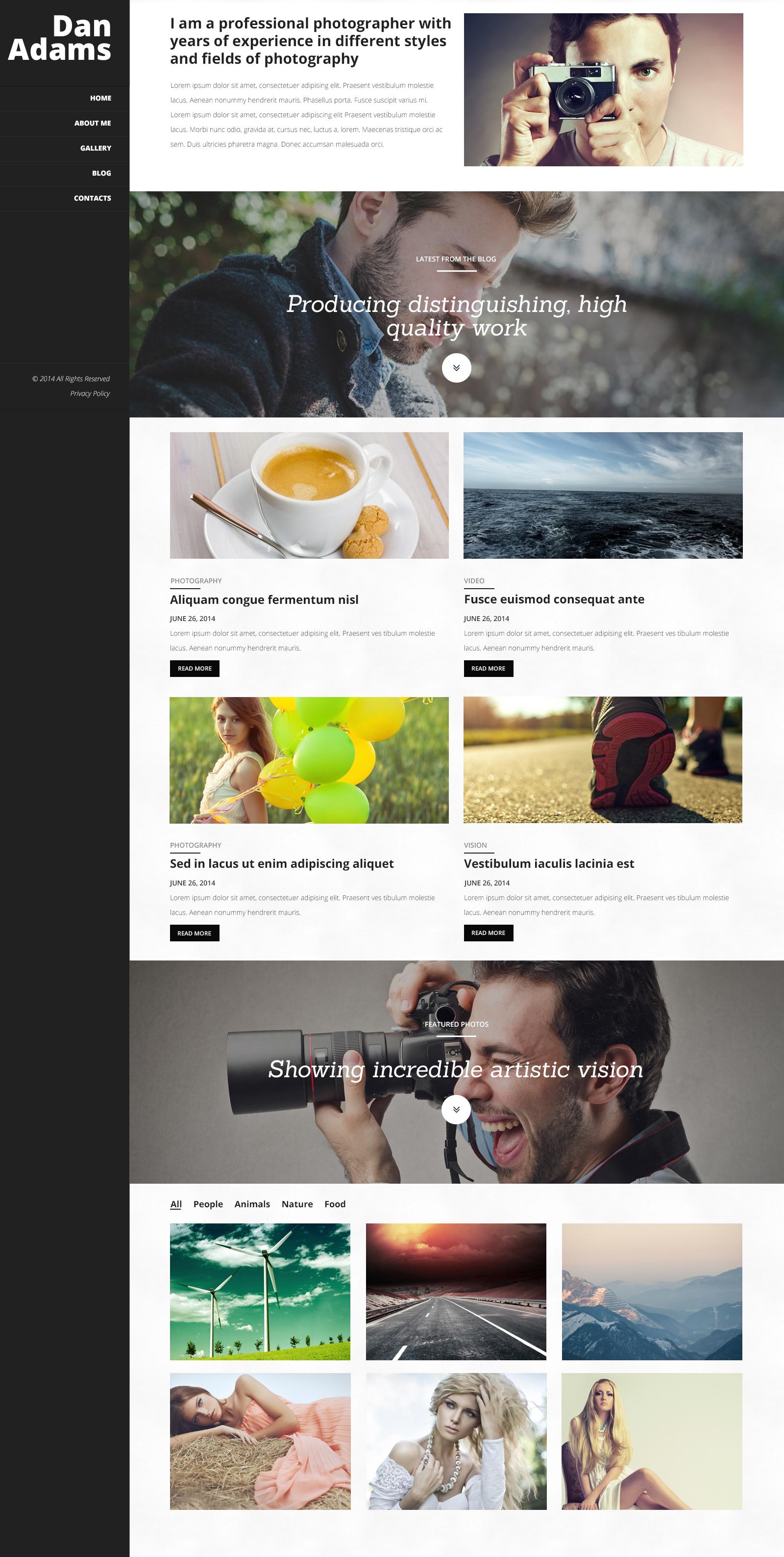 """Photography Online Portfolio"" - адаптивний WordPress шаблон №51031"