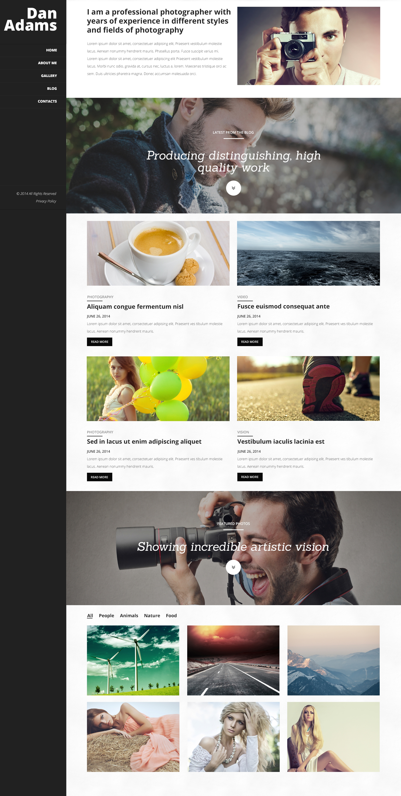 Photography Online Portfolio WordPress Theme - screenshot