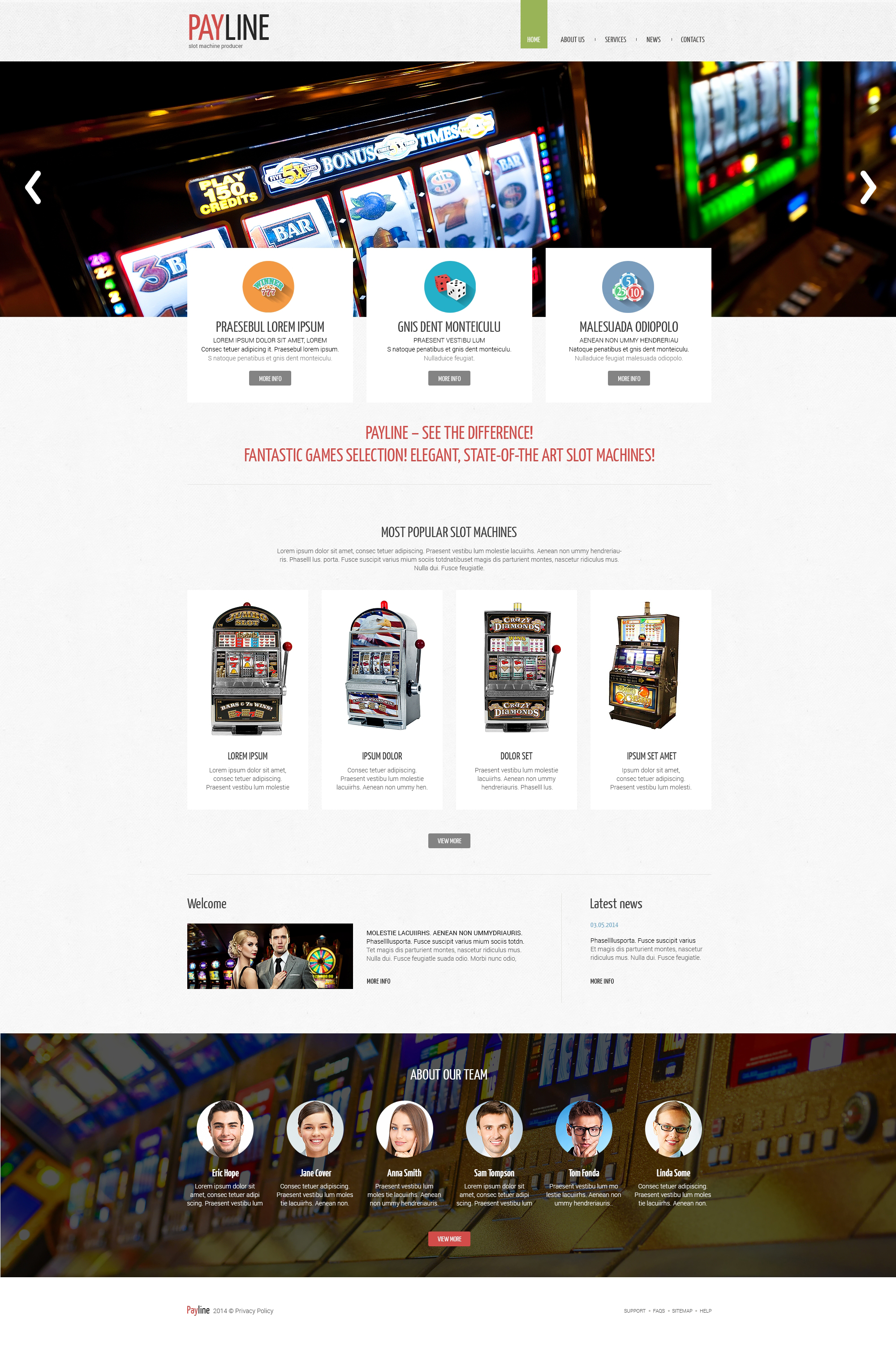 Plantilla Web Responsive para Sitio de Máquinas tragamonedas #51014 - captura de pantalla