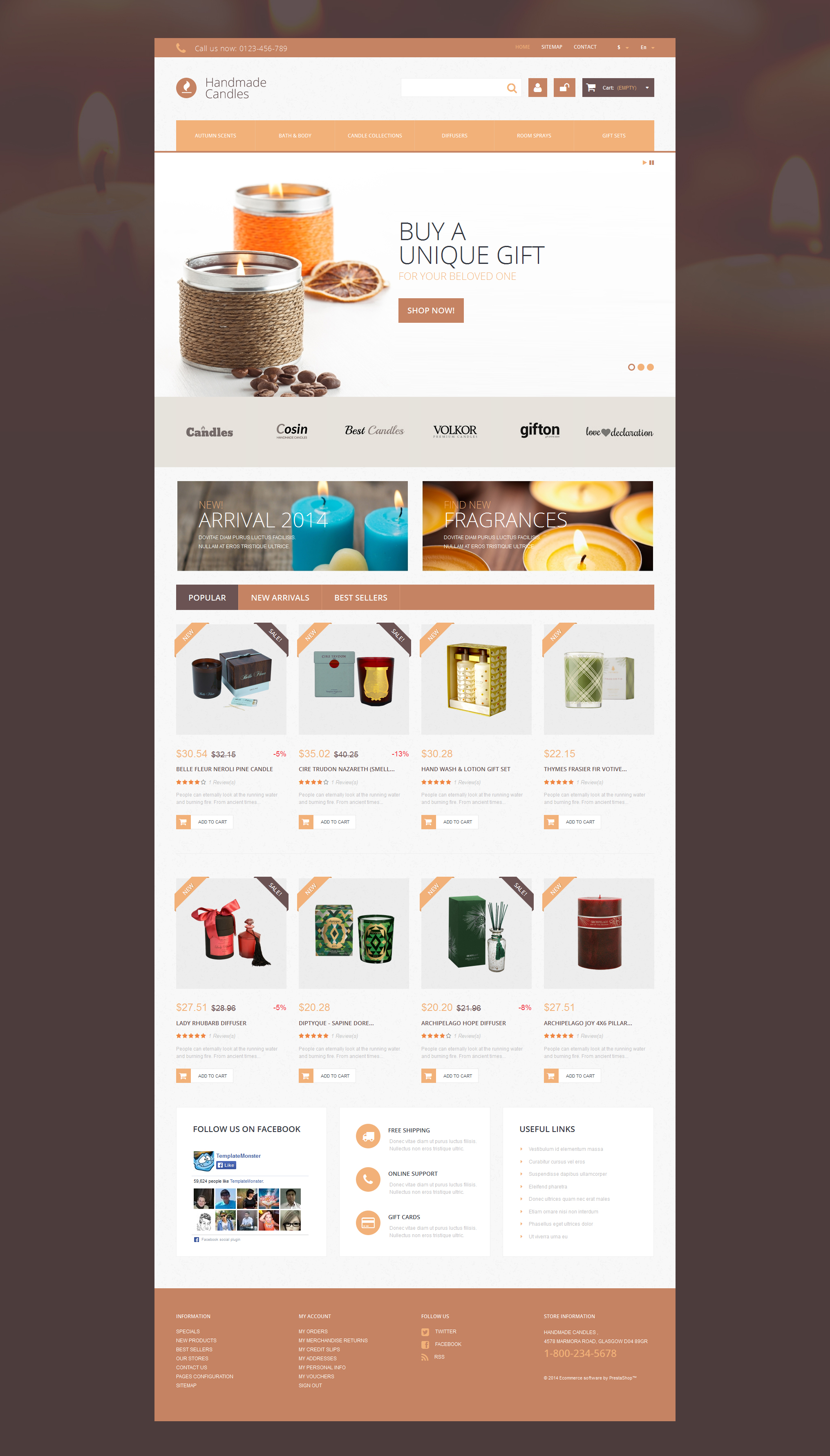 "PrestaShop Theme namens ""Handgemachte Kerzen"" #51078 - Screenshot"