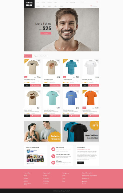 Responsives PrestaShop Theme für T-Shirt Shop