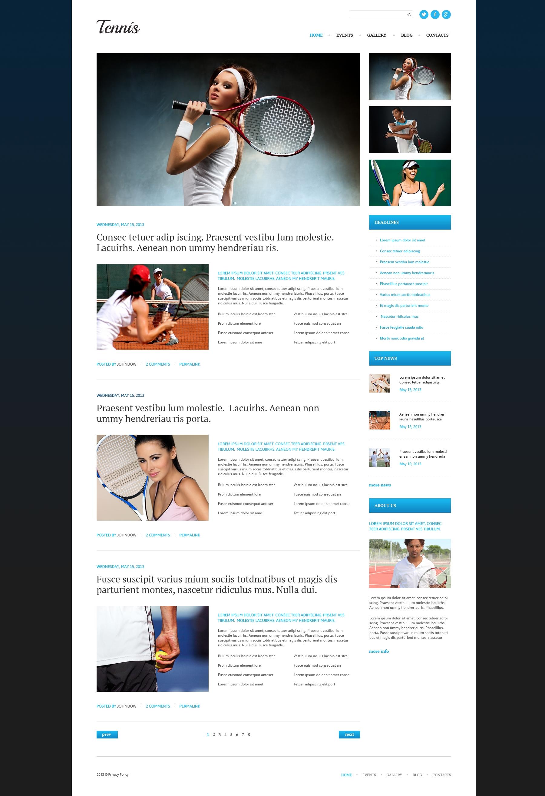Responsive WordPress thema over Tennis №51081 - screenshot