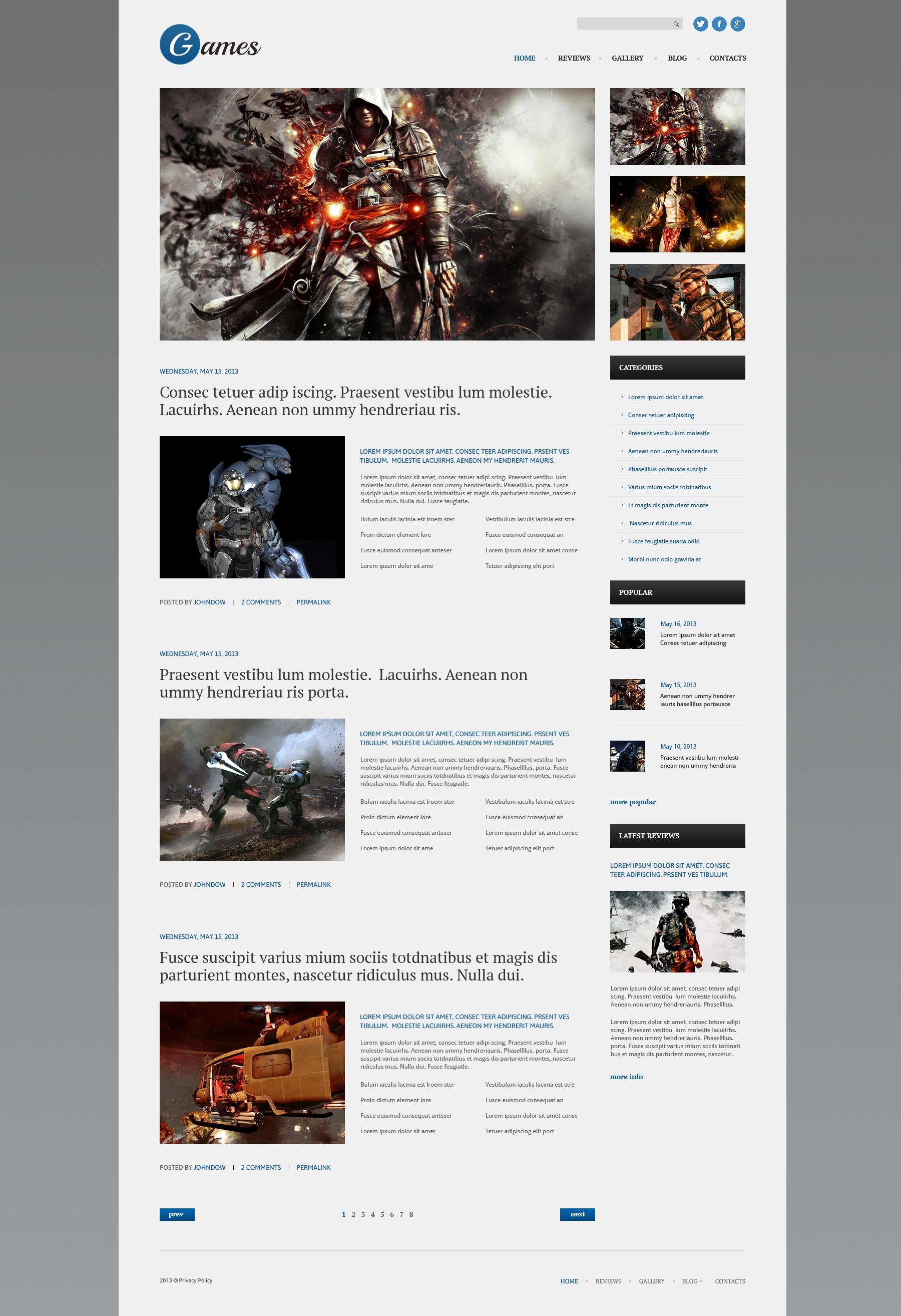 Responsives WordPress Theme für Spiele #51079 - Screenshot