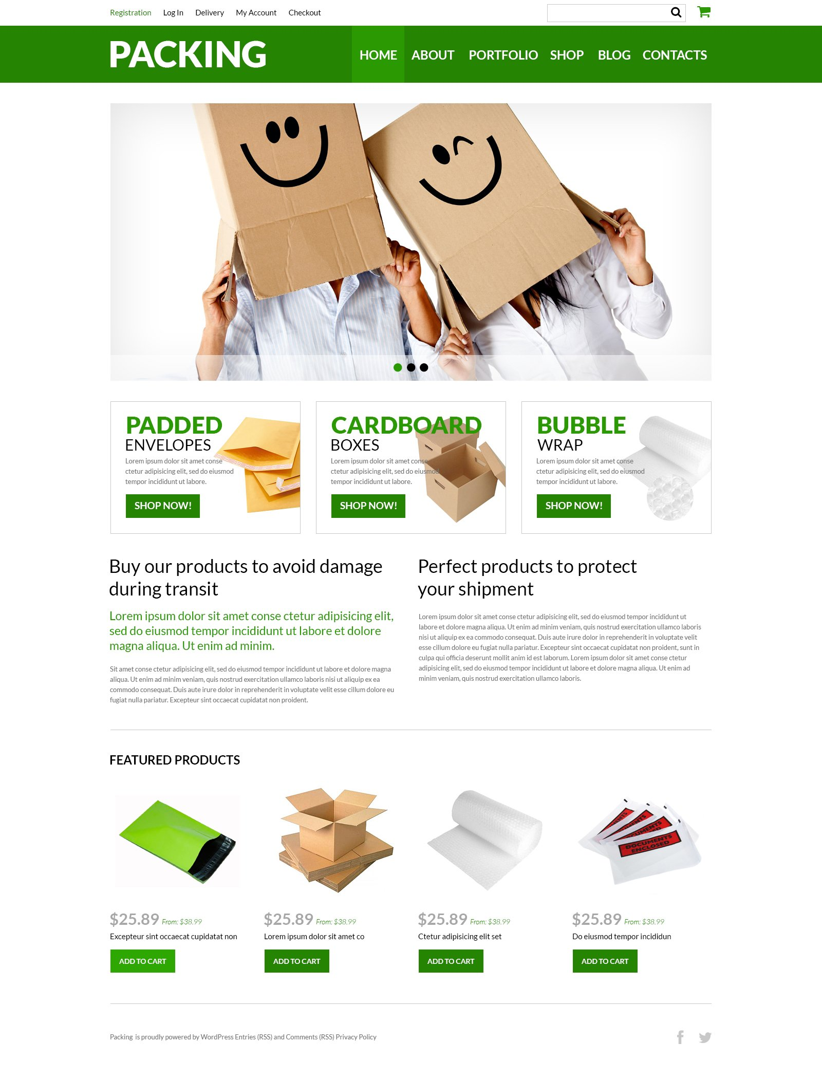 Responsywny motyw WooCommerce Packing Company eStore #51002