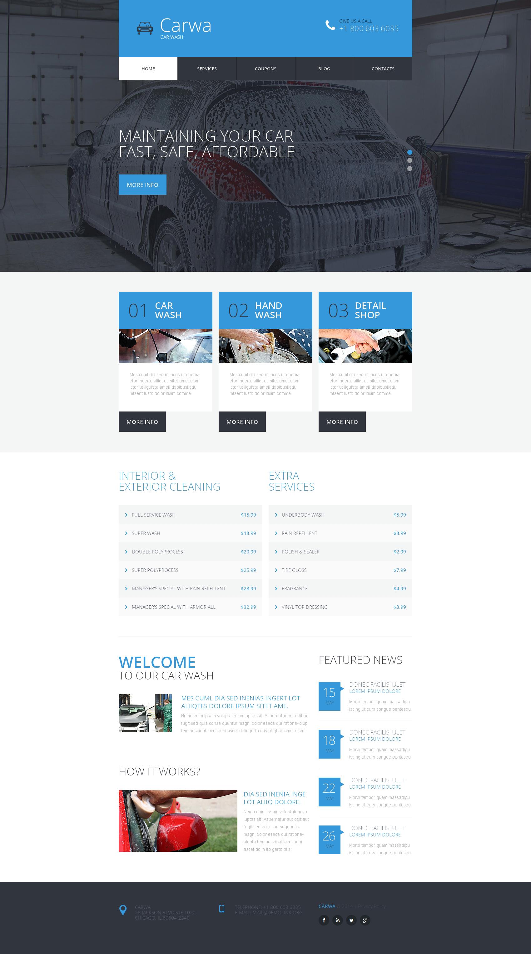 Reszponzív Autómosó témakörű Weboldal sablon 51005 - képernyőkép