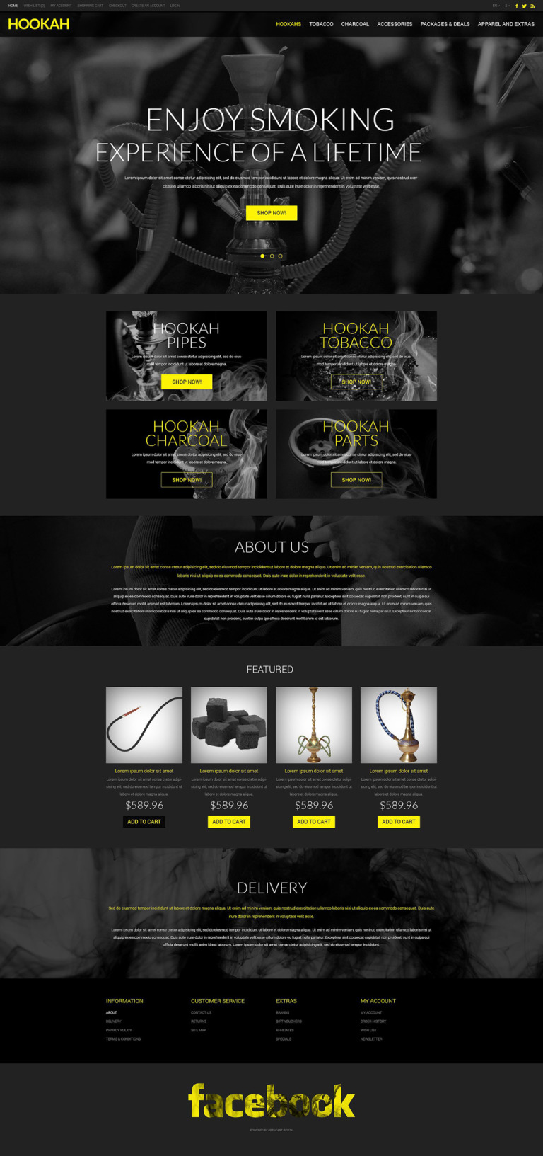 Selling Hookah OpenCart Template New Screenshots BIG