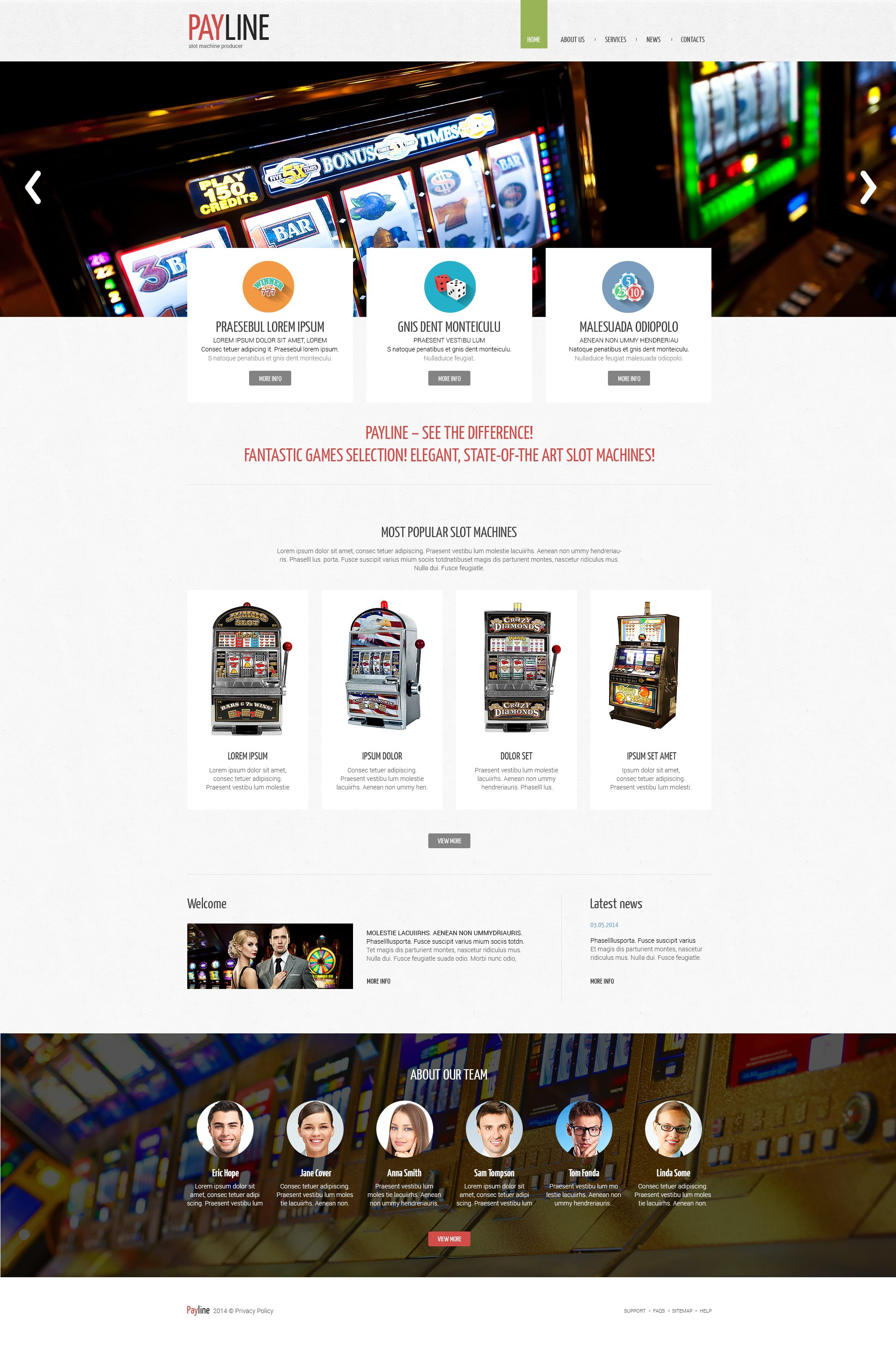 Slot Machines Responsive Website Template - screenshot