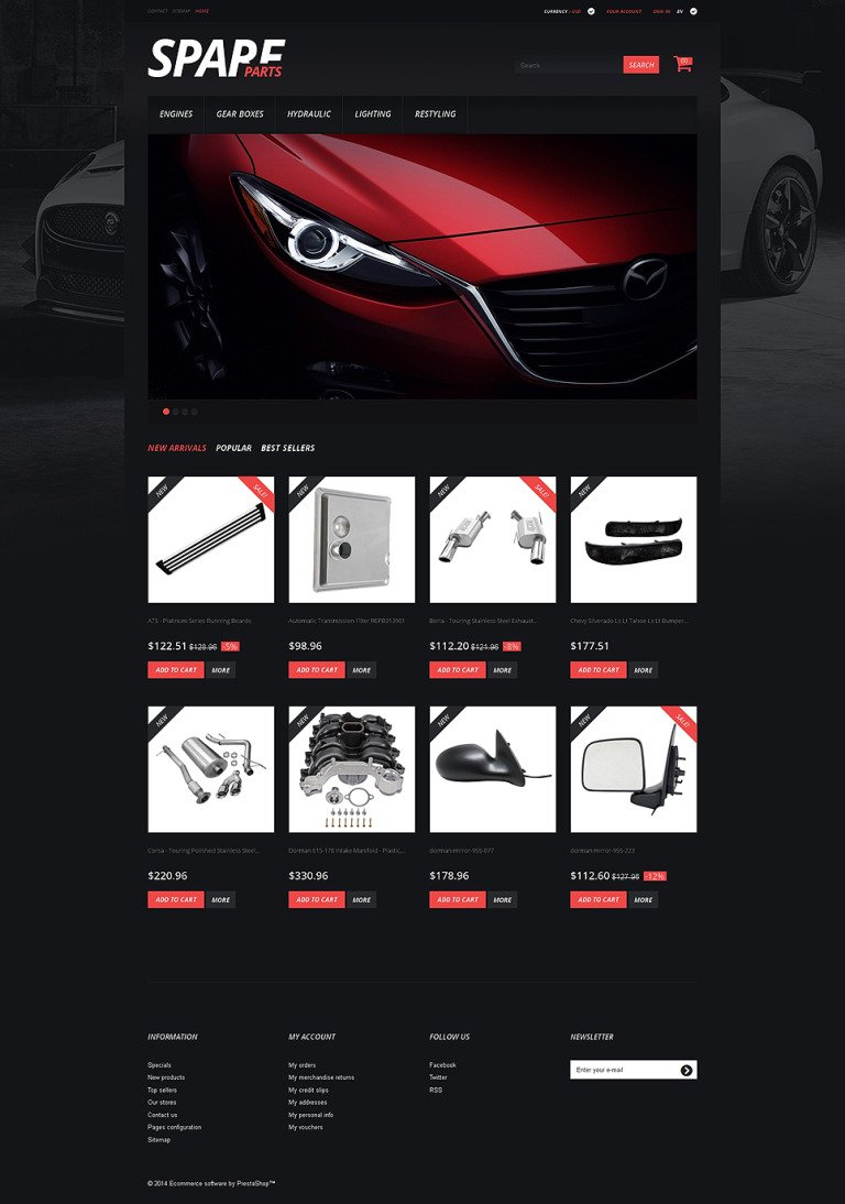 Spare Parts PrestaShop Theme New Screenshots BIG
