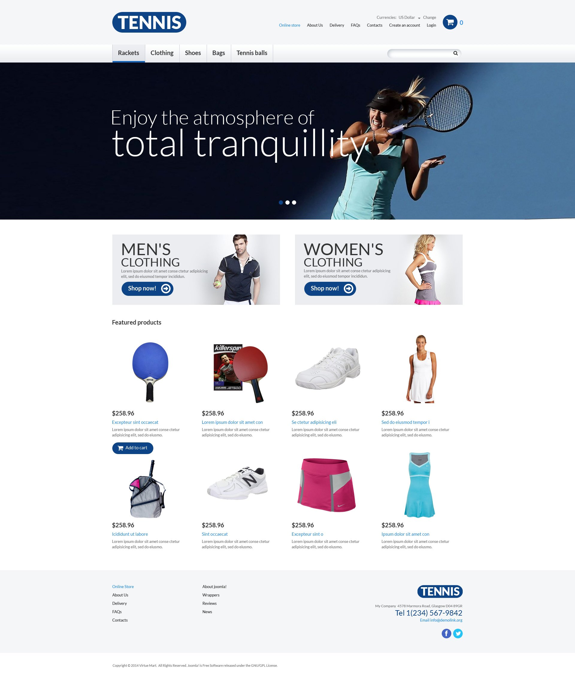 Szablon VirtueMart #51018 na temat: tenis