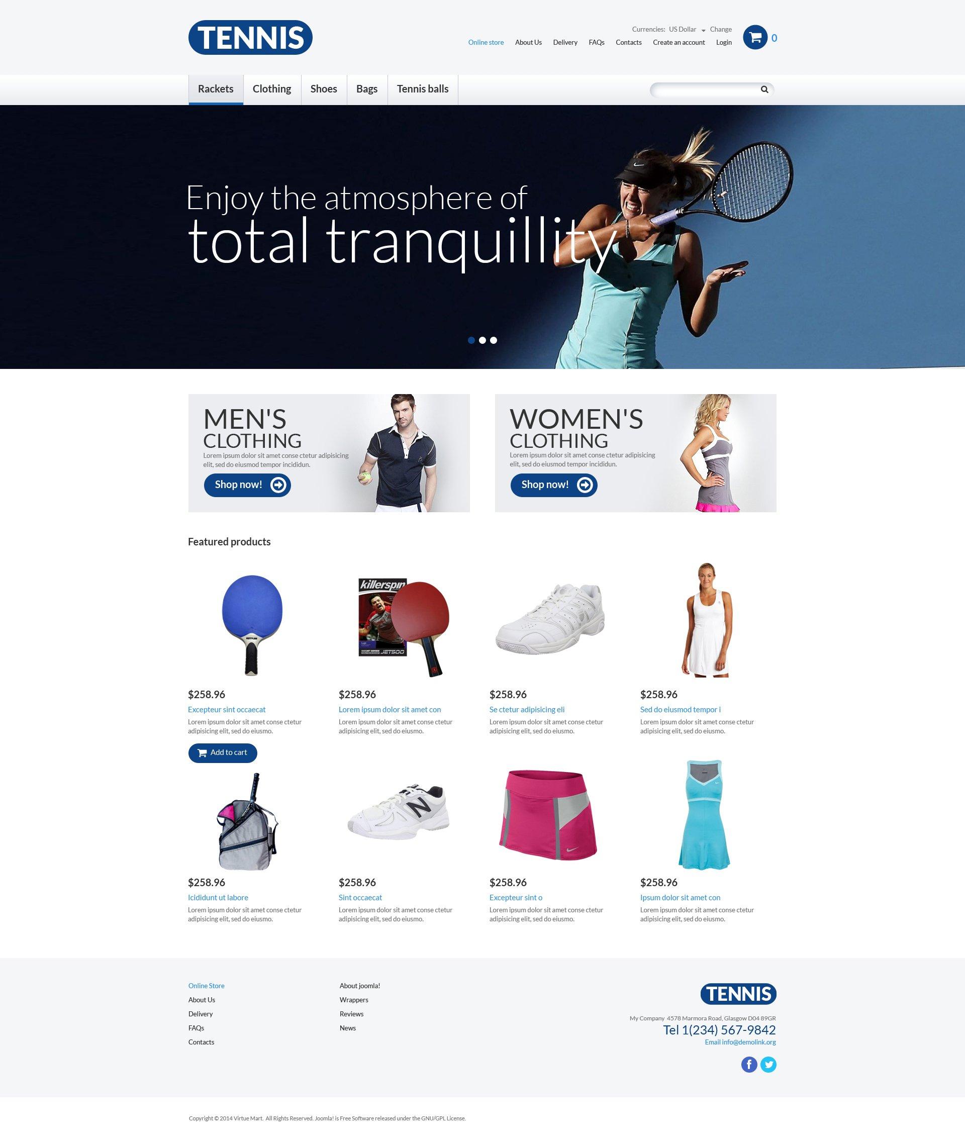 Tema VirtueMart #51018 per Un Sito di Tennis