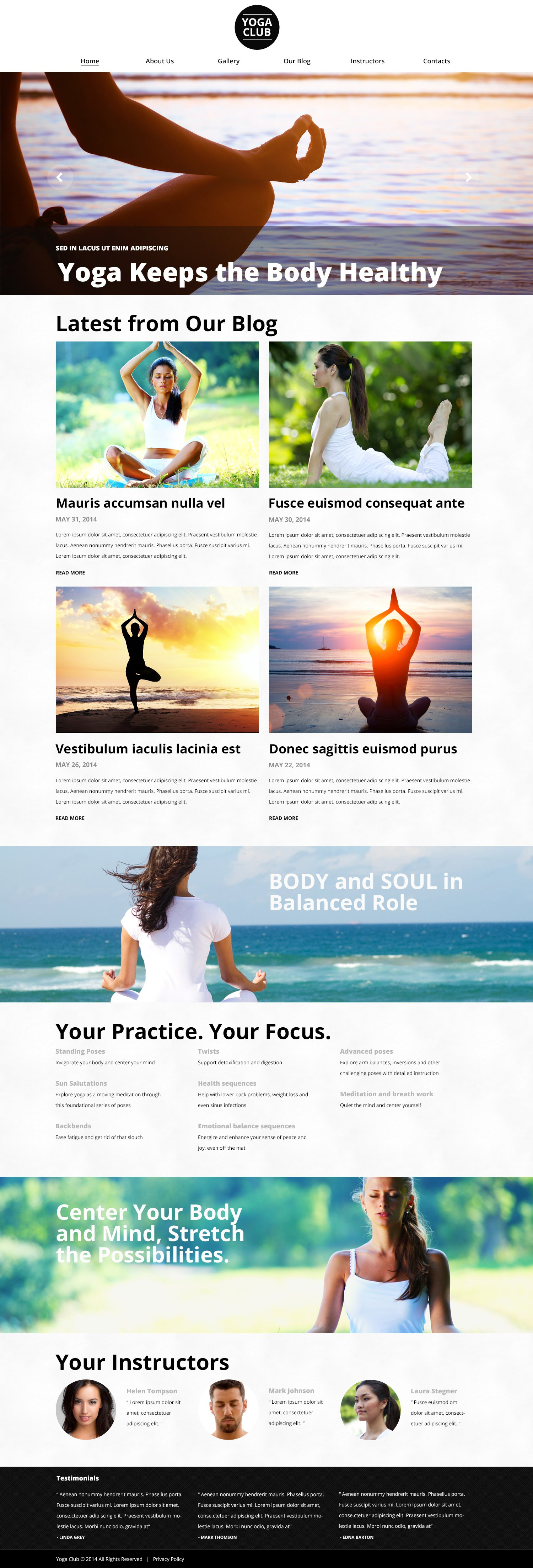 "Tema WordPress Responsive #51030 ""OpenAir Yoga Classes"""