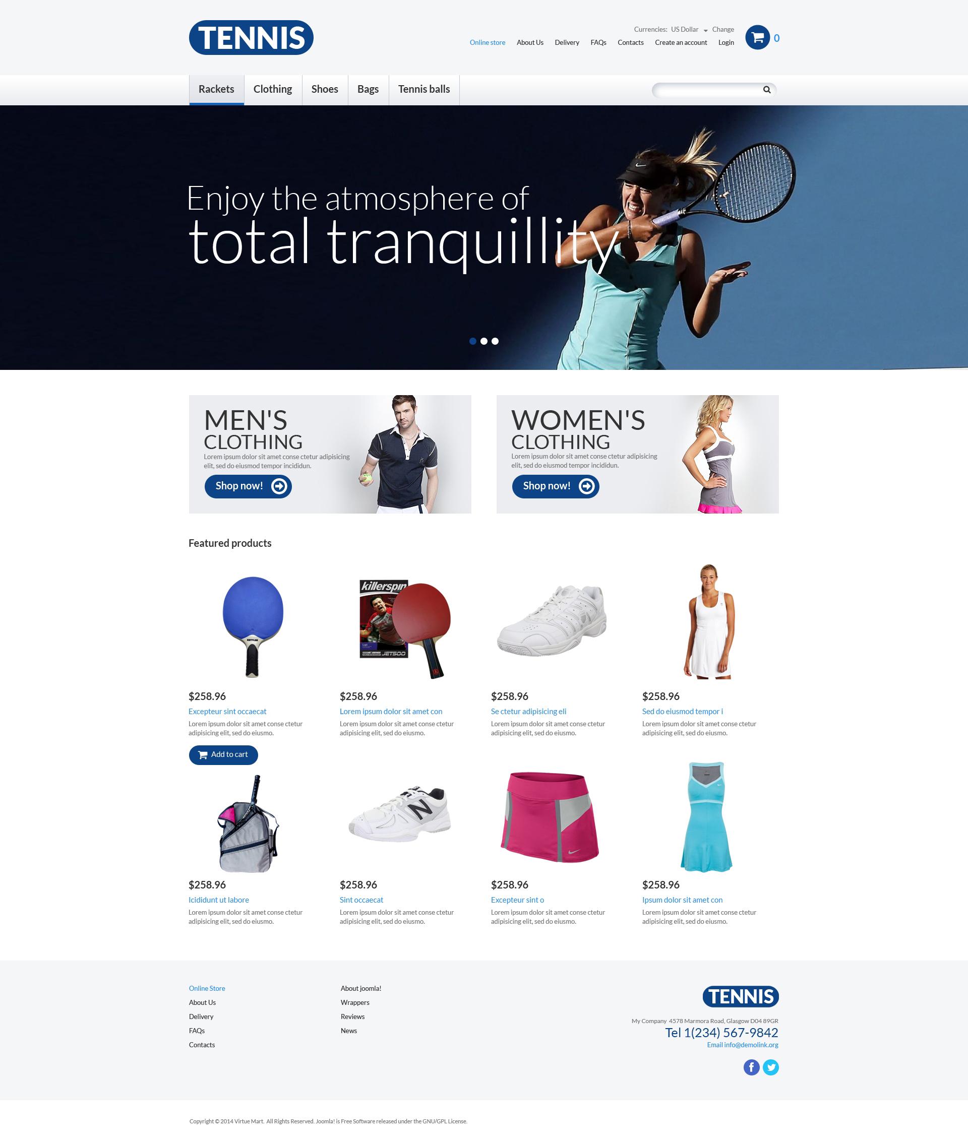 Template VirtueMart para Sites de Tenis №51018