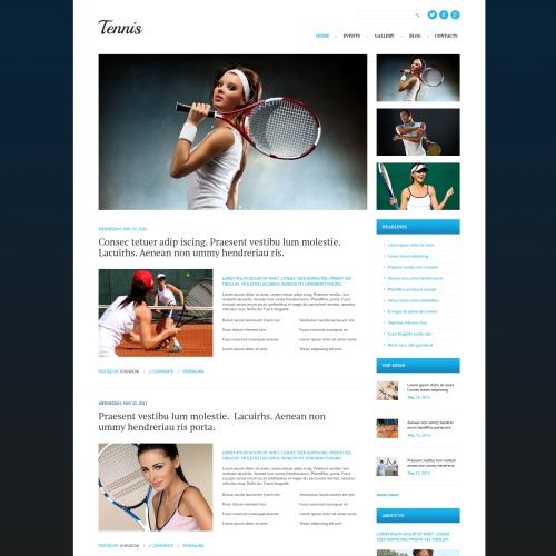 Tennis - WordPress Template based on Bootstrap